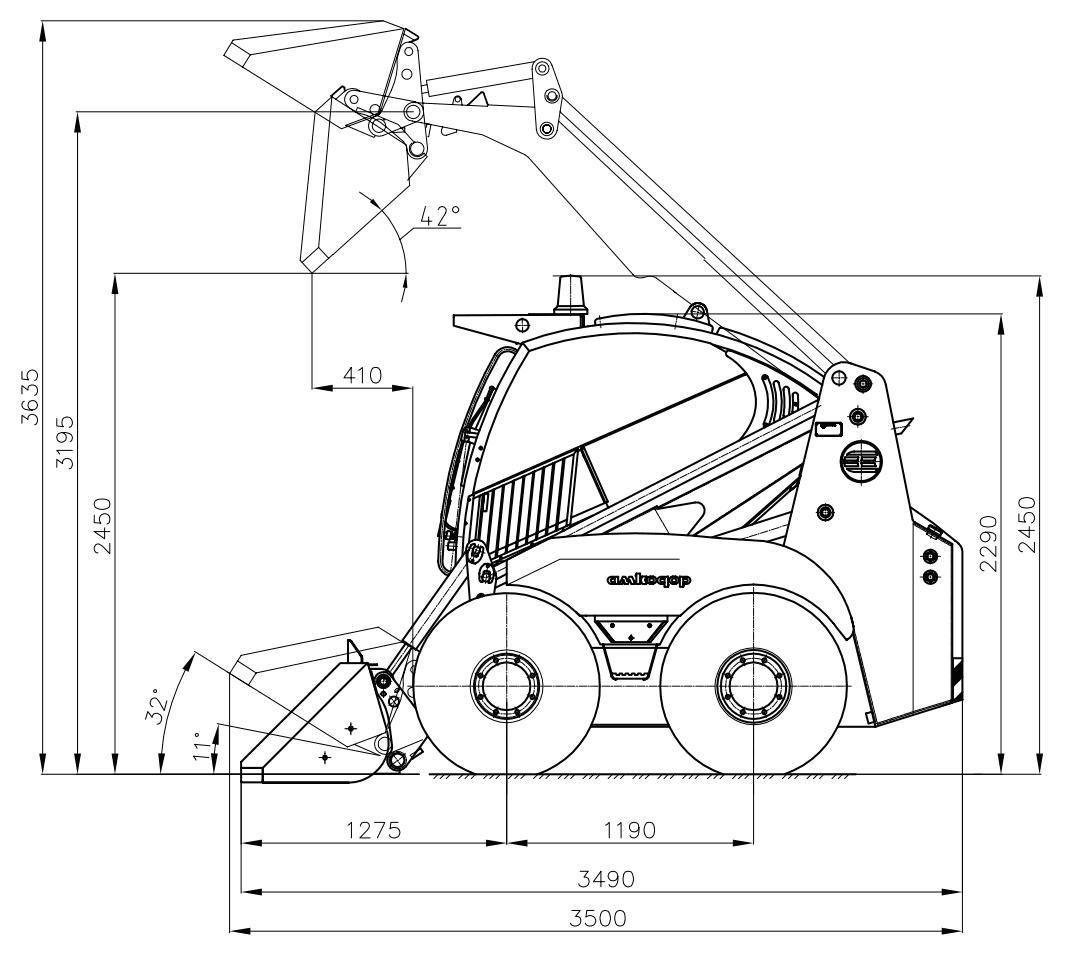 Технические размеры мини-погрузчика Амкодор 211