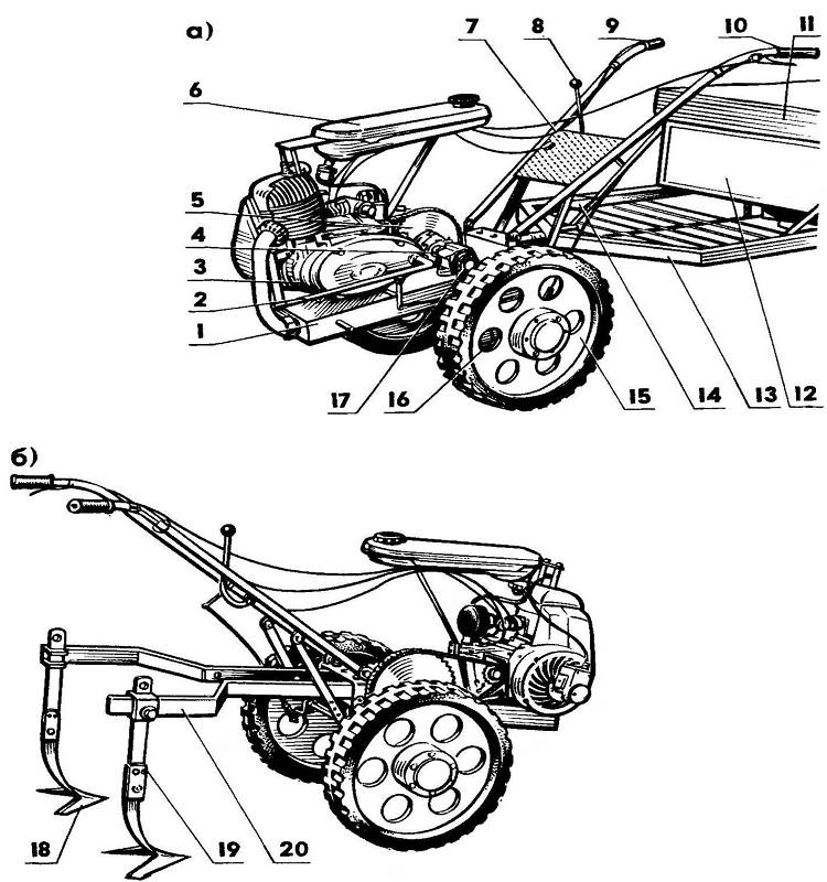 Схема мотоблока